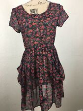 Black and Red Short Sleeves Floral See Through Juniors Top by Delias