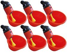 (6) AUTOMATIC WATERER DRINKER CUPS CHICKEN COOP POULTRY CHOOK BIRD TURKEY DRINK