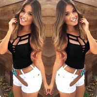 Sexy Chaleco de verano de las mujeres Top blusa sin mangas Casual Tank Tops FWS