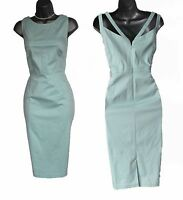 MONSOON Mint V Neck Tailored Casual Formal Cocktail Party Dress UK 12  EU 40