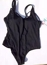 Jantzen Women's Solid One Piece Swimsuit w/ Black Strappy Back (Size: 16)
