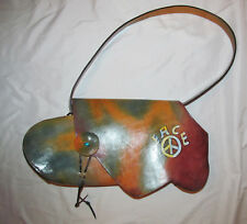 WABAGS tie dye hand painted look PEACE hippie large leather shoulder art bag