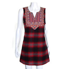 FREE PEOPLE Plaid Folk Grunge Embroidered Collar Red Black Sleevless Dress S/P