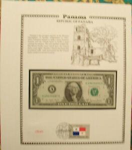 United States Banknote 1 Dollar 1977-A UNC  w/UN Panama FDI FLAG  BIRTHDAY 1962