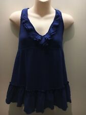 Moda (Vic Secret) Cobalt Blue Ruffle Halter Neck Top Shelf Bra Size L Fit 12 14