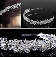BRIDAL Women's Lady Hair Full Crystal Flower Leaf Tiara Prom Headband Hairband
