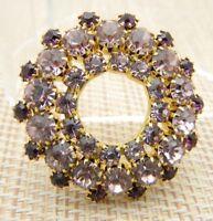 Gold Tone Purple Circle Wreath Gold Tone Pin Brooch Vintage