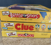 Simpsons Board Game Lot (Monopoly, Clue, Battle Of The Sexes) Used