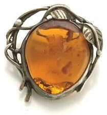 Art Nouveau Amber Brooch Ca1930S   Silver Openwork Leaf And Vine Frame
