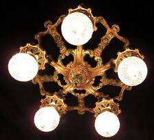 ANTIQUE ART DECO CAST IRON CEILING CHANDELIER LIGHT FIXTURE 1930's