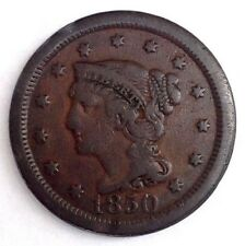 1850  1c Braided Hair LARGE CENT copper RB coin