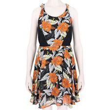 Proenza Schouler Black Orange Floaty Silk Hibiscus Dress US2 UK6