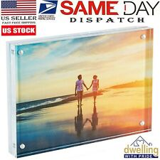 Acrylic Photo Frame Magnetic Photo Holder Standing Clear Picture Frame 5x7""