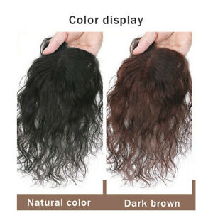Curly Wavy Mono Human Hair Clip in Topper Hair Piece For Women Loss Hairpiece
