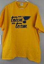St. Louis Blues NHL Our Town Our Team Graphic T Shirt size L 100% Cotton Gold