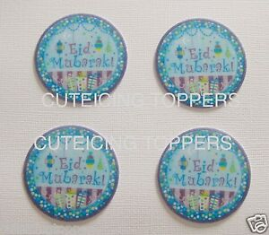 12 PRE CUT EID MUBARAK EDIBLE RICE WAFER PAPER CARD PARTY CUPCAKE TOPPERS 2