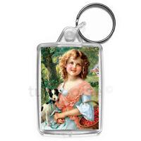 Vintage Girl Art Keyring Gift Key Fob Keychain | Medium Size