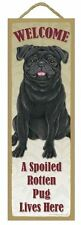 "Spoiled Rotten Pug Black Lives Here Sign 5"" x 15"" Plaque Gift pet dog"