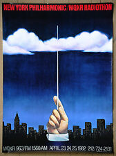 New York Philharmonic Wqxr Radiothon Rare Vintage Original Promo Poster 1982
