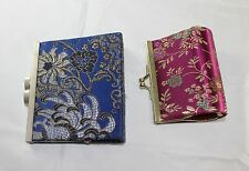 Oriental Asian Embroidered  Silk Coin Holder  Change Purse Cosmetic Bag
