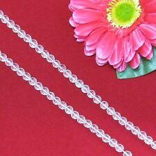 2 Fil Blanc Cristal de Roche 6mm Ronde Facettes Perles