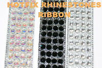 RIBBON HOTFIX IRON ON GLASS RHINESTONES ROUND GEMS STRIP DECORATION CRAFT BEAD