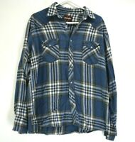 Wrangler Men's XL Long Sleeve Pearl Snap Button Casual Western Plaid Shirt Blue
