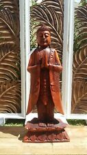 WOODEN ON LOTUS STANDING BUDDHA IN NAMASKARA MUDRA STATUE CARVED LARGE 104 CM