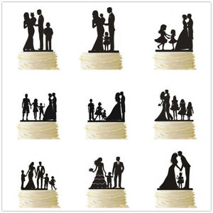 Family Wedding Cake Topper with Children Boy Girl Anniversary Party Decorations