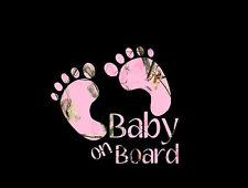 Baby On Board Footprints Pink Camo Decal Window/Mirror/Car/Truck/Sticker