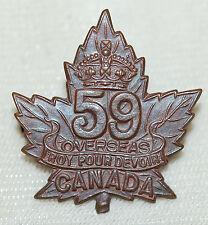 C.E.F. 59th Infantry Bttln (EAST ONTARIO/WEST QUEBEC) Collar Badge No. 59B