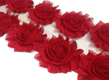 "1 yard red 2.5"" shabby chiffon rose trim fabric flowers DIY baby headband"