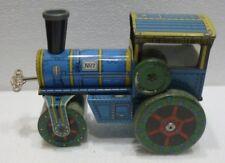 Ancien ROULEAU COMPRESSEUR Camion Jeu Jouet Mécanique en Tôle peinte avec Clé