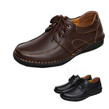 Mens Boys Comfy Black Brown Casual Formal Shoes School Work Driving Lace up Flat
