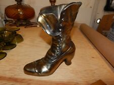 Vintage Victorian Button Top Shoe Vase Brass Plated Metal Boot