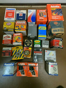 """OIL/FUEL FILTERS, BEARINGS, THERMOSTATS, SPARK PLUG WIRES, COIL, HEADLIGHT """"NOS"""""""