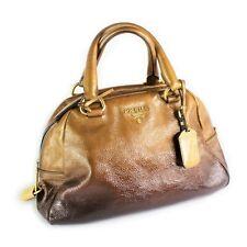 Vintage Prada Patent Ombre Tote Purse Shoulder Hand Bag Women's Gold Brown