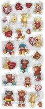 STICKER SHEET - Teddy with Red Hearts 807  (2 sheets)