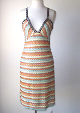 M MISSONI Multi Stripe Open Back Knit Dress 44 8