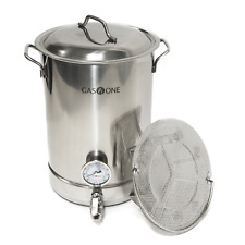 Beer Brewing Pot 32 Quart with Thermometer, False Bottom, Bozooka Net GAS ONE