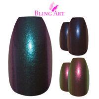 Bling Art Coffin False Nails Blue Green Purple Chameleon Colour Fake Medium Tips