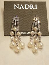 Nadri Rhodium Plated Freshwater Pearls CZ Drop Earrings