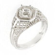 Art Deco Filigree Sterling Silver Semi Mount Ring Setting Round RD 5x5mm