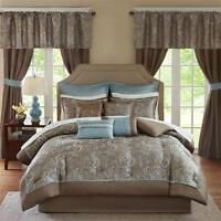 Deluxe Taupe Brown Blue Paisley Comforter Curtain 24 pcs Cal King Queen Set New