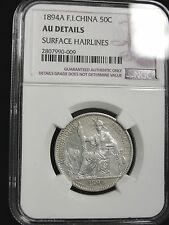 1894 A  FRENCH INDO CHINA 50 CENT GRADED AU DETAILS by NGC