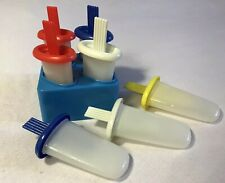 Vintage ARC Popsicle Molds Set Ice Tups Freezer Pop Makers with Tray Misc Red Bl