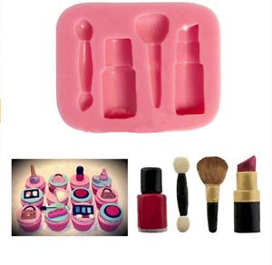 Makeup Silicone Fondant Mould Lipstick Shoe Cake Decor Icing Sugarcraft Mold