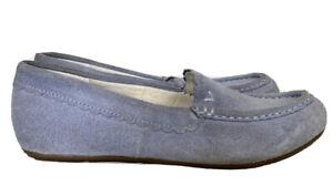 Vionic Mckenzie Women's 6.5 Moccasins Slippers Light Blue Suede Faux Fur Lined