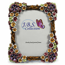 Jeweled flower bouquet antique look pewter photo frame,enamel painted w crystals