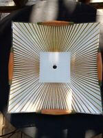 1960s Gold Bronze Atomic Starburst Square Glass Ceiling Light Shade Wood Sides